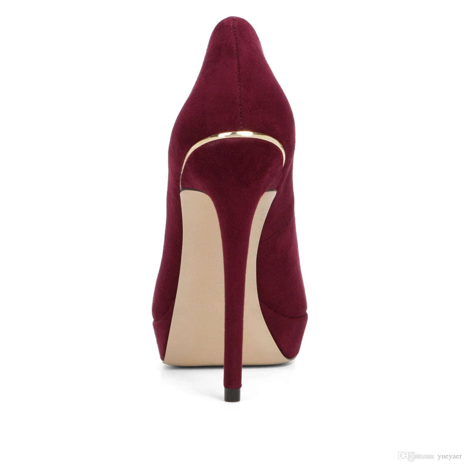 Zandina Femmes Mode Sexy À La Main À Talons Hauts Peep Toe Plate-forme Multicolore Stiletto Slide Pompes De Mariée Chaussures Darkred