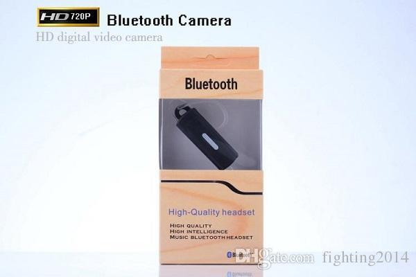 bluetooth headset Video Camera HD 720P Earphone DVR pinhole Camera mini Audio Video Recorder Mini Camcorder with TF card slot black