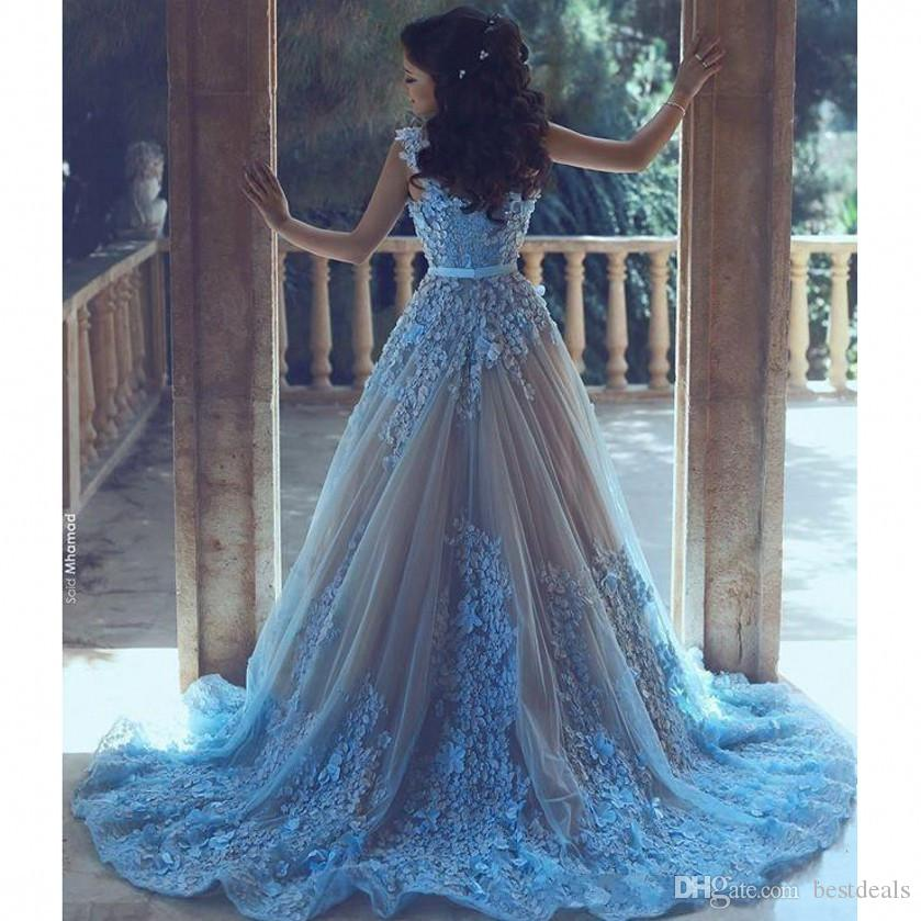Céu Azul 3D Flor Árabe Mulheres Prom Vestidos Com Cintura Sash Formal 2017 Evening Party Dress Longo Tule Jewel Neck vestido de festa