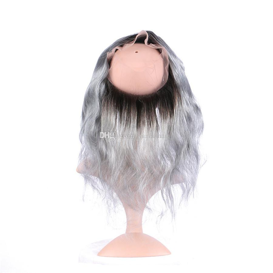 Sliver Grey Bundles Con 360 Lace Frontal Two Tone Grey Lace Frontal con Bundles Body Wave Grey Ombre 360 Lace Frontal con Bundles