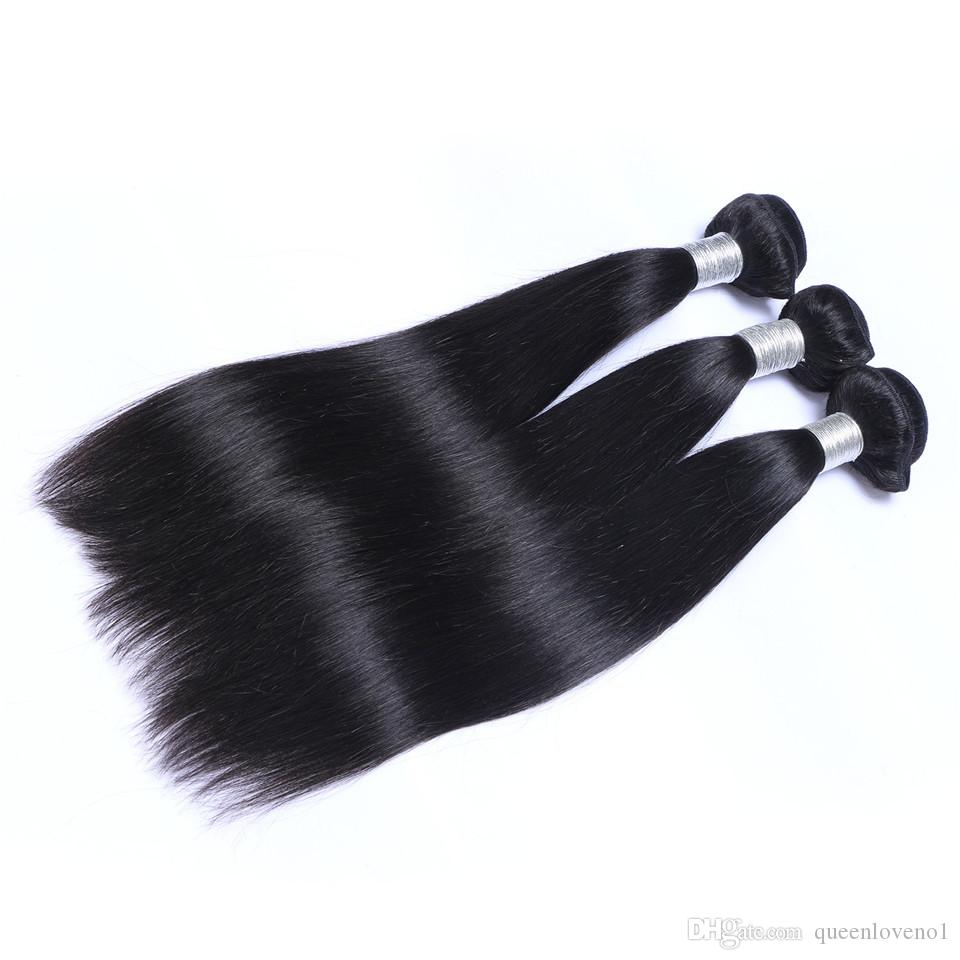 Indian Straight Weaves Remy Human Hair Extensions Dyeable No Shedding Tangle Free Unprocessed Human Virgin Hair Weaves