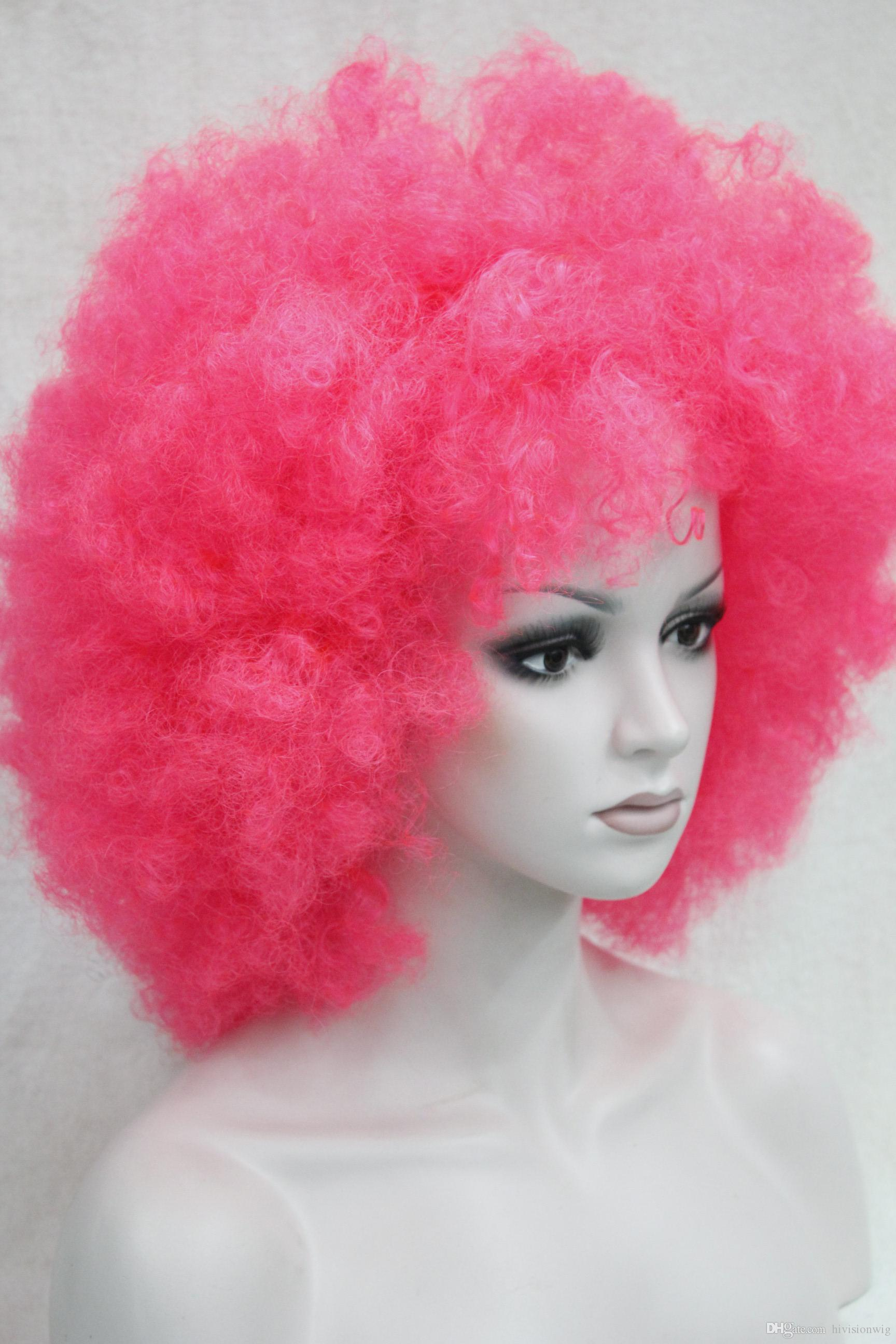 D Pink Curly Afro Wig Circus Clown Unisex Fancy Dress