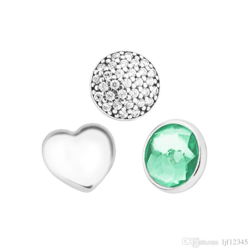May Petites Royal-Green & Clear CZ Charm for Locket necklace Charms Fits Pandora Bracelet sterling silver jewelry making charms