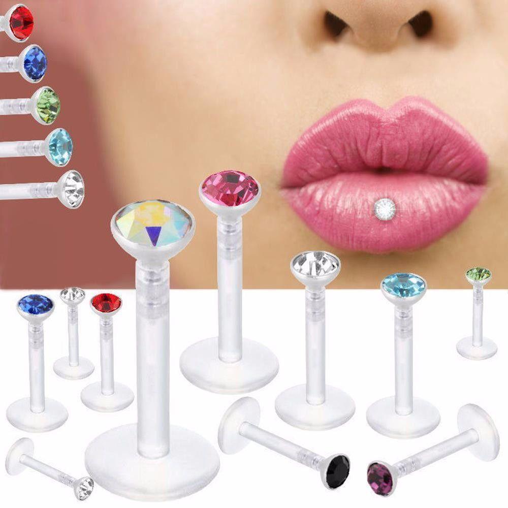 2017 mais novo acrílico labert bar Lip Tongue anel ear osso anéis brincos body piercing jóias lip