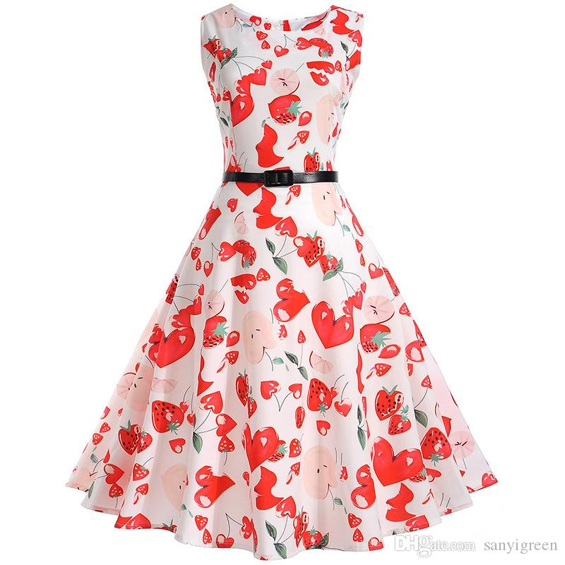 3f67feca124 Women 50s 60s Retro Vintage Dress 2018 New Fashion Sweet Heart And  Strawberry Print Sleeveless Summer Tank Rockabilly Dresses Online with   16.0 Piece on ...