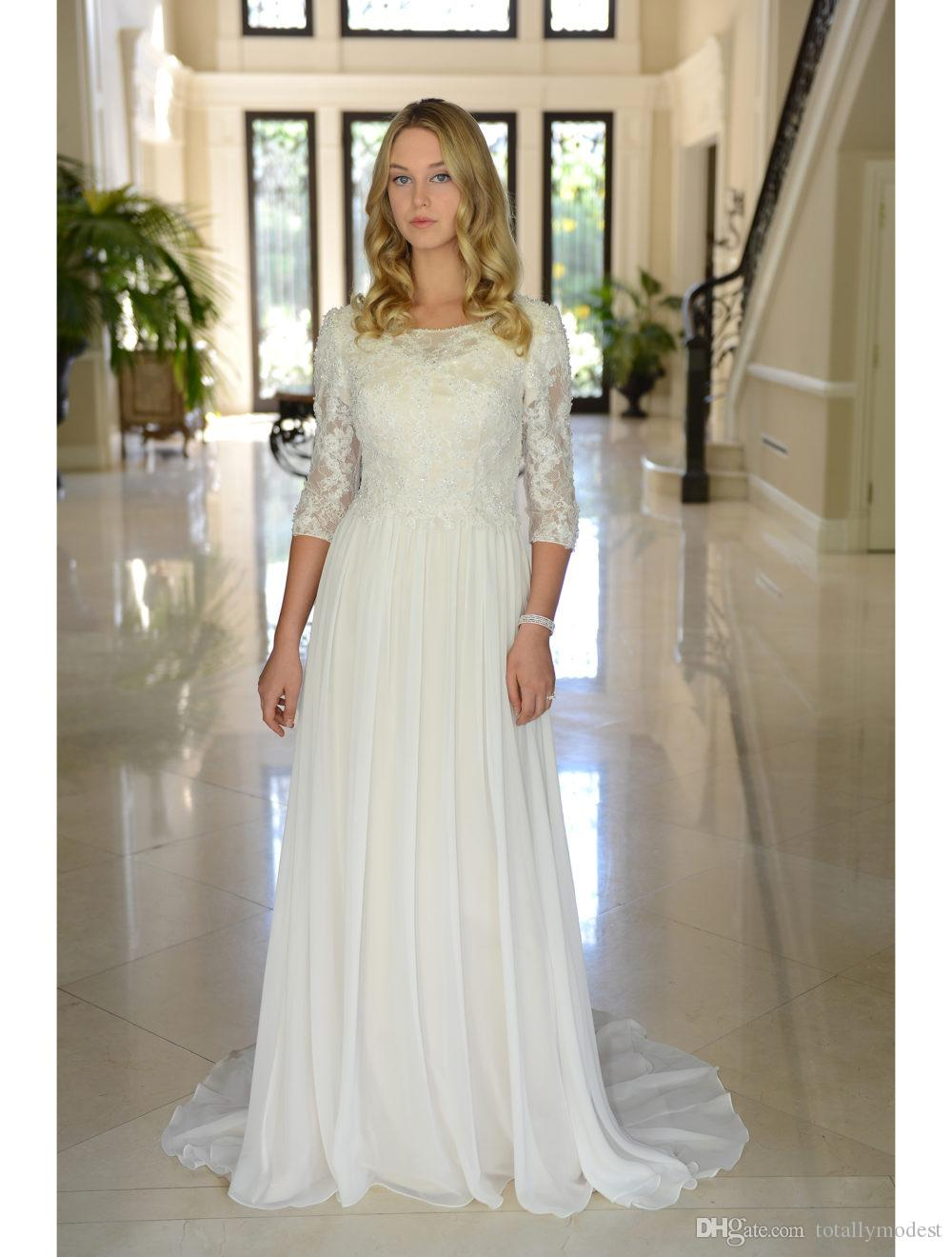 Discount A Line Chiffon Boho Modest Wedding Dresses With Sleeves Beaded  Buttons Back Lace Country Reception Bridal Gowns Couture Custom Made Wedding  Gowns ... a490709b9179