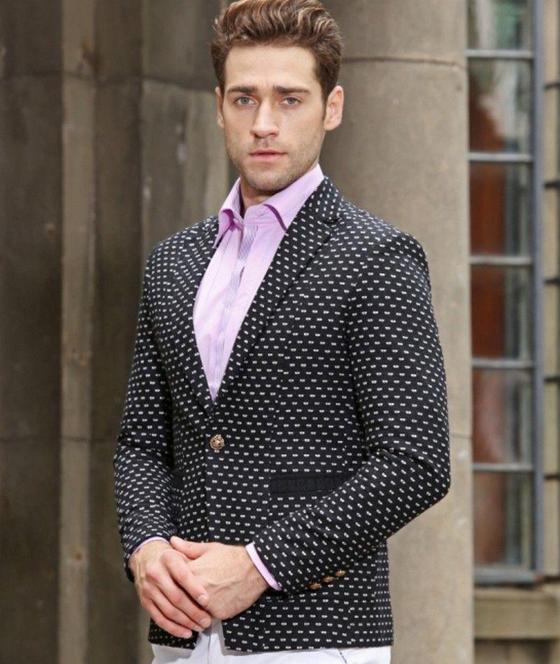 385ec9b09a727 2019 Wholesale 2016 Autumn Winter Season Fashion Design Wool Fabric Suit  Men Blazer Embroidery Blazer Men Suit Polka Dot Embroidery Slim Blazer From  ...