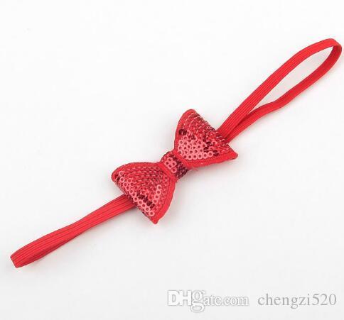 Mode Polyester Solide À La Main Sequin Bandeau Pour Bébé Filles Boutique Cheveux Bow Bandeau Enfants Accessoire YH688