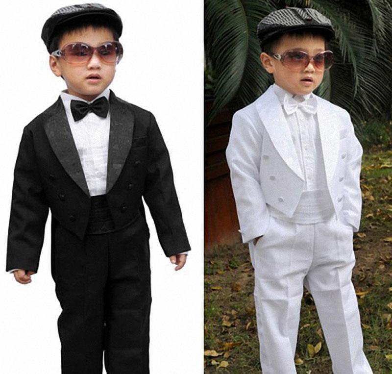 Abiti ragazzi matrimoni Bambini Abiti da sposa Nero / Bianco Abiti da sposa ragazzi smoking bambini abbigliamento bambini set ragazzo costume formale