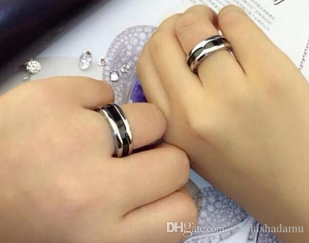 US Size 5 to 11 Hot Fashion Charitable Style Black Ceramic Rings, Platinum Plated Titanium Stainless steel with Red mark Women /Men Jewelry