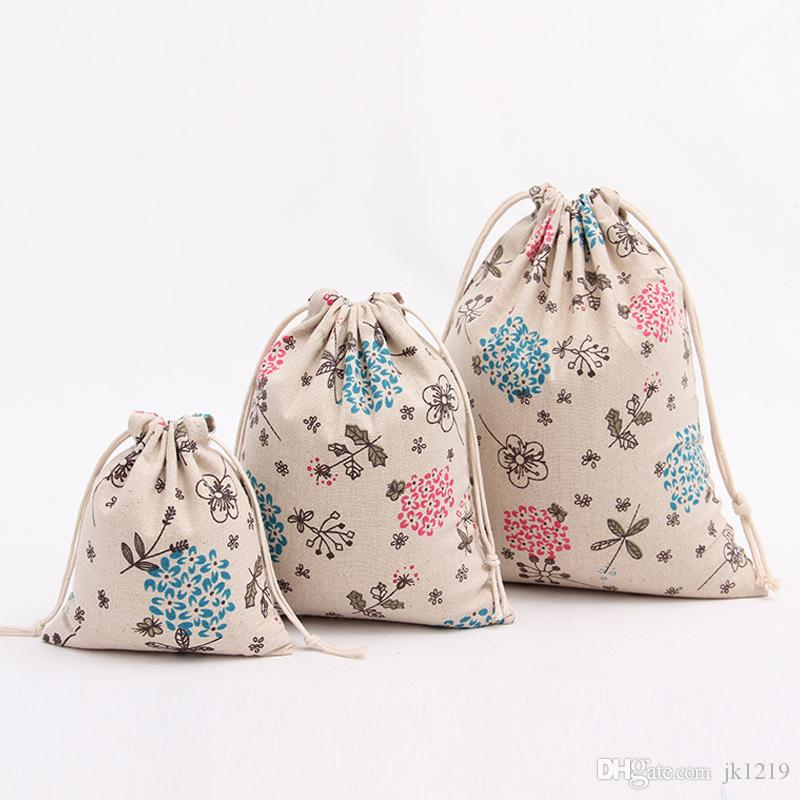 3 Size New Cotton Linen Drawstring Bags Floral Mini Muslin Cotton ...