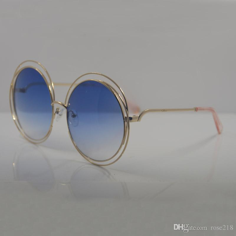 Bayanlar Yuvarlak Altın Tel Çerçeve Güneş Gözlüğü CE 114 S Altın / Kahverengi Degrade Moda tasarımcısı marka Güneş Gözlüğü Yeni kılıf ile