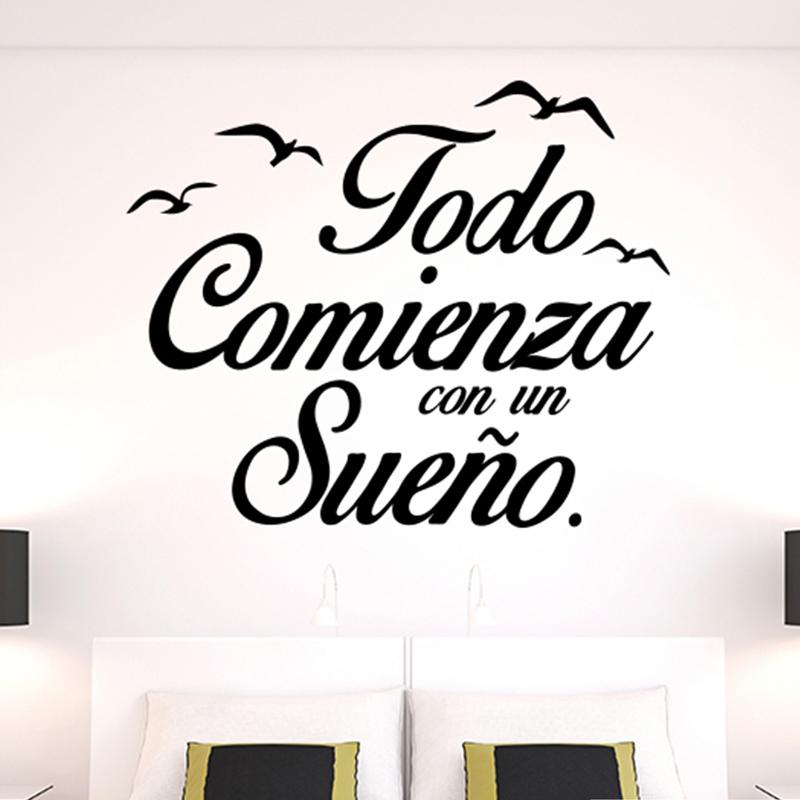 spanish wall stickers vinyl quote poster birds letterings wall