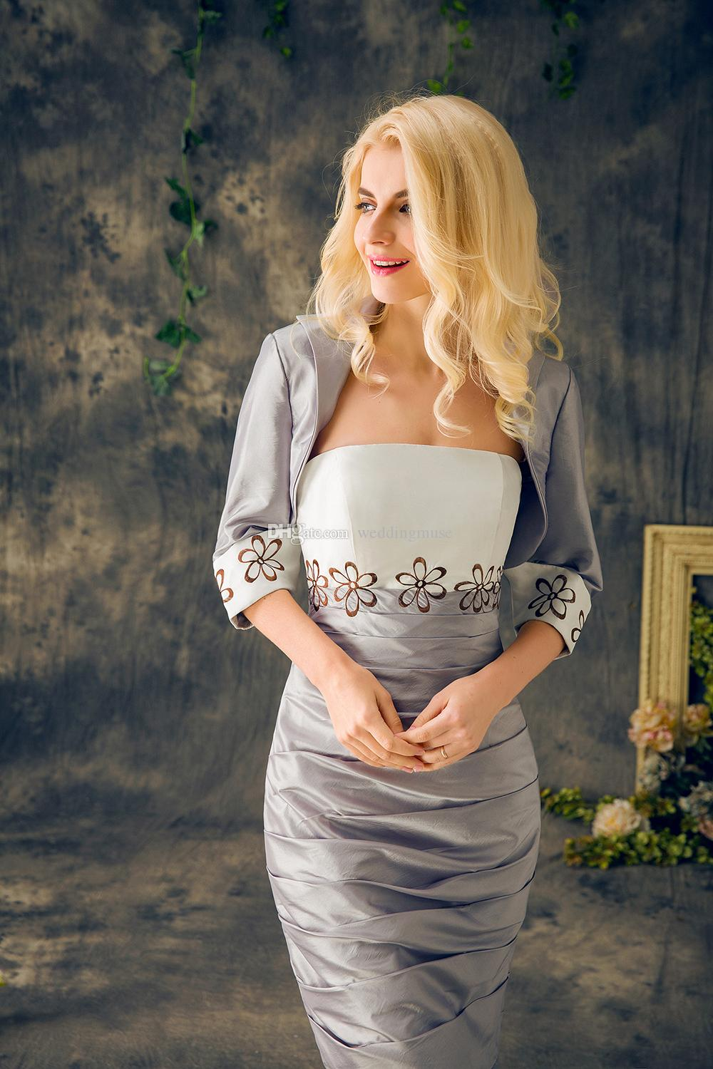 2018 Plus Size Mother Of The Bride Suits Formal Long Sleeves Embroidery Mermaid Trumpet Mother Of The Groom Dresses Satin Tiers Strapless
