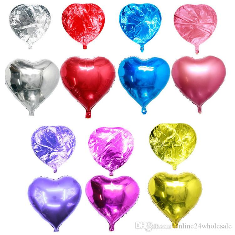 18inch Heart Shape Metallic Color Infatable Foil Balloons for Wedding Birthday Decoration Party Balloons Factory Wholesale Drop Shipping