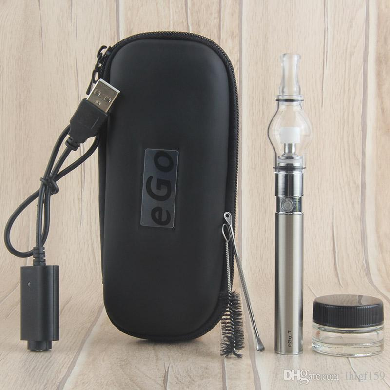 Super E Cigarettes Dry Herb Wax Vaporizer attachment Glass Pyrex Glass eGo t Battery Ego starter kits EGO Dab vape pens case kit