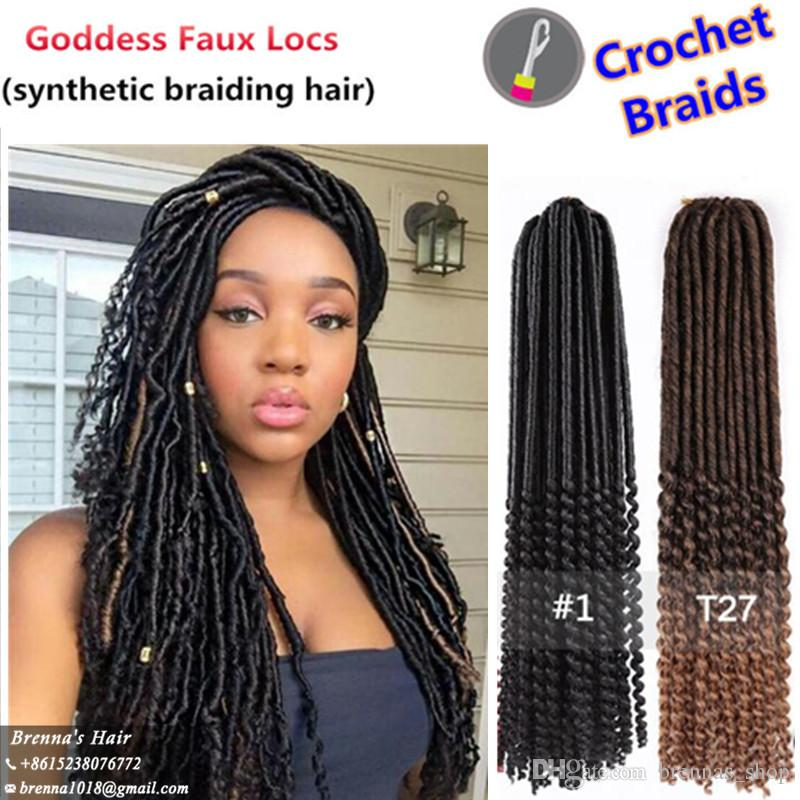 Discount Beautiful Faux Locs Curly Goddess Braid Faux Locks Crochet