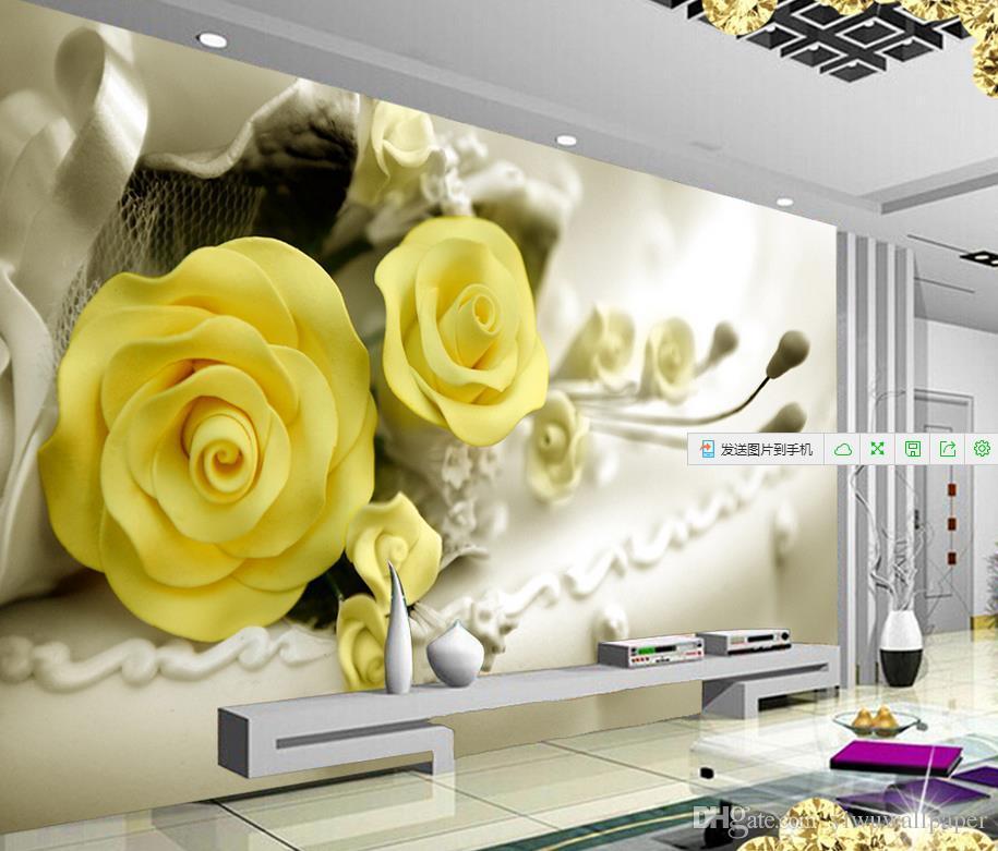 Acheter Roses Jaunes Belle Mode Floral Fond Tv Murale Papier Peint