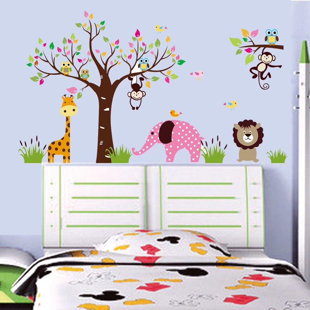 Monkey Elephant Forest Animal Kindergarten Wall Stickers Large Tree Vinyl Decals Living Room Home Decorative