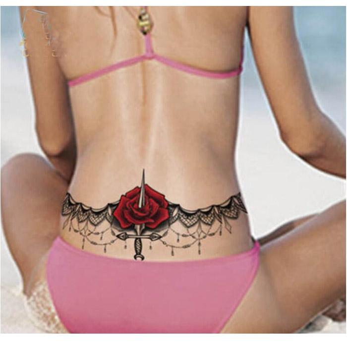 Body Wreath Sexy Body Art Temporary Tattoo Lace Rose Waist Circle Tattoo Sticker 24 X 13.8cm
