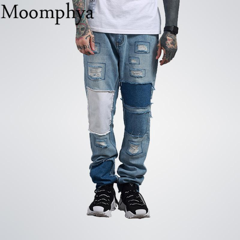 76bd380710 2019 2017 Autumn Men Distressed Ripped Jeans Holes Multi Patchwork Patch  Blue Jeans Hip Hop Jeans Men From Acore