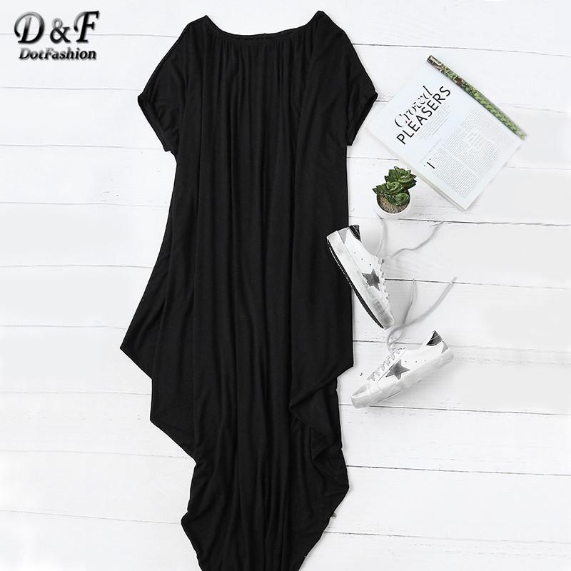 5f35bfa0d77 2019 Wholesale Dotfashion 2016 Female Plain Black One Shoulder Dolman Short  Sleeve Short Sleeve Maxi Asymmetrical Tshirt Dress From Cacy, $29.39    DHgate.