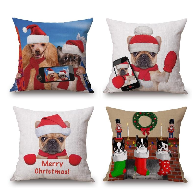 Christmas Hat Cushion Cover Pug Dog And Cat Pillow Case Merry ...