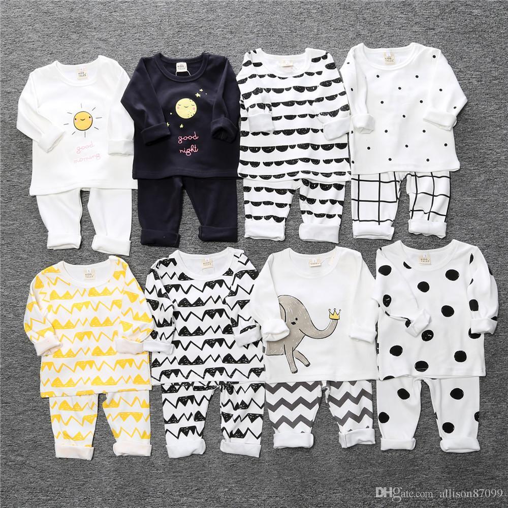 1f5a8620c Baby Pajamas Kids Pyjamas Baby Clothing Boys Girls Sleeping Wear Comfort  White Print 100%cotton 2016 Autumn Winter Homewear Wholesale Canada 2019  From ...