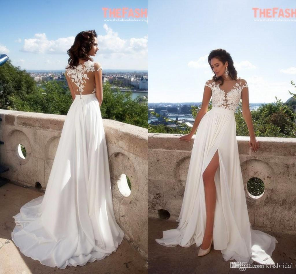 2016 Elegant Summer Beach Wedding Dresses Appliques Thigh High Slits Sheer Neck Lace Gowns Cap Sleeves A Line Chiffon Bridal