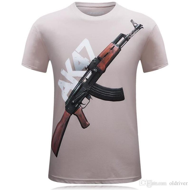Marka AK 47 Silah Üst Kalite 3d Baskılı erkek Kısa kollu Giymek T Gömlek Pamuk erkek Gömlek