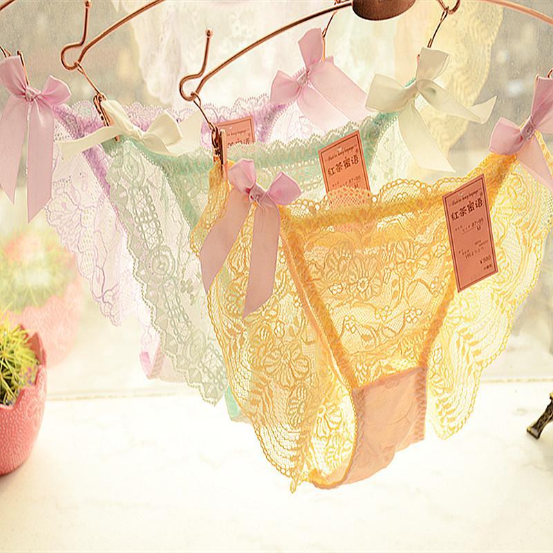 Sexy Frauen Thongs G-String Baumwolle Unterhose Damen Floral Sheer Spitze Unterwäsche Grils Soft Dessous Slip Bikini Höschen LMC364