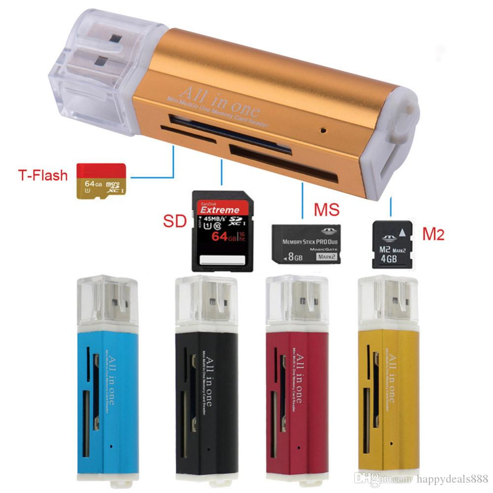 4 em 1 de Alta Qualidade USB 2.0 de alta velocidade Leitor de Cartão de Memória Universal Micro USB Multi para T-Flash MMC TF M2 Memory Stick
