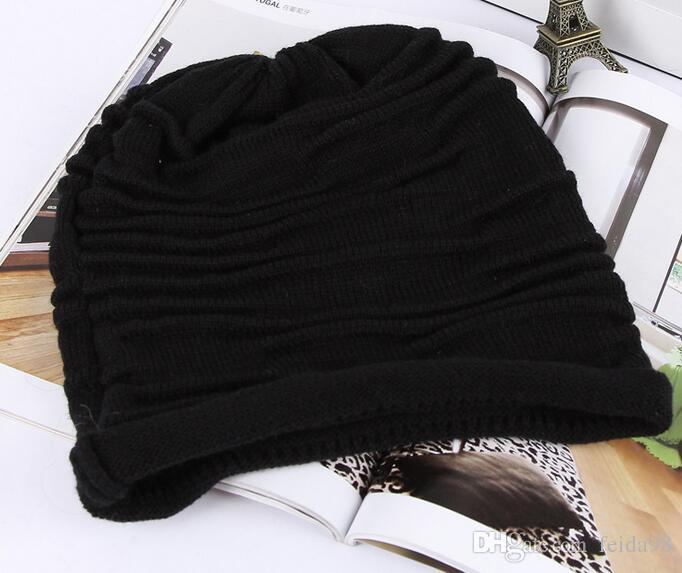 Mode Beanie Crâne Caps Mens Womens Printemps Automne Laine D'hiver 4 Couleurs Tricoté Ruches Couches Plaine Chapeaux Caps G582