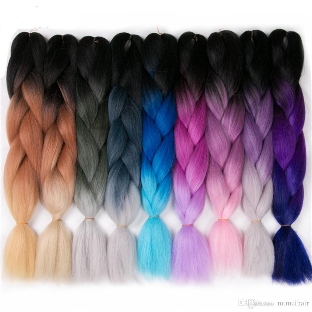 Mtmei capelli 24 pollici 100 g / pacco sintetico trecce jumbo capelli ombre crochet intrecciare le estensioni dei capelli taglio di capelli africano