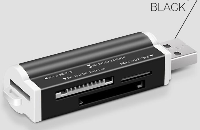 Alta calidad Todo en uno Lector de tarjetas Portátil Mini Multi en uno Lector de tarjetas de memoria Adaptador Conector Para Micro SD MMC SDHC TF M2 Memory Stick