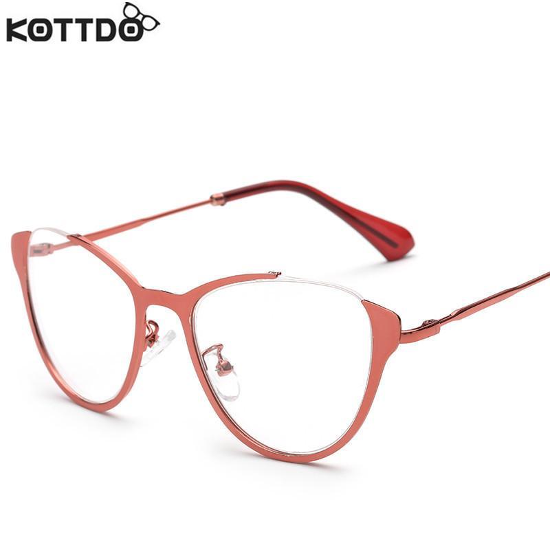 2f93cdf3e3 Wholesale- KOTTDO New Fashion Men Optical Glasses Frame For Women High  Quality Metal Vintage Eyeglasses Half-frame Eyewear For Male Female Frame  Tent ...