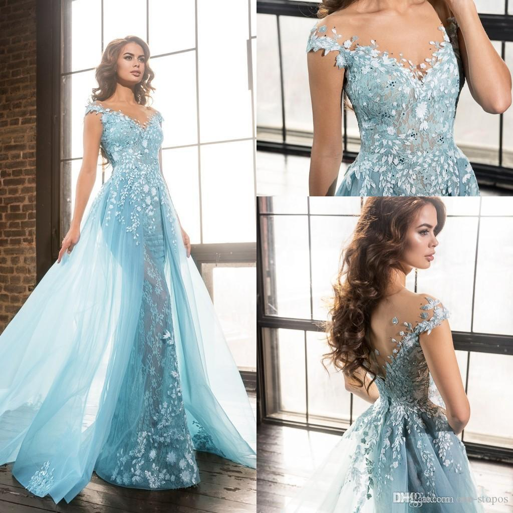 Light Sky Blue Appliques Formal Evening Dresses With Overskirt Train Sexy See  Through Lace Beaded Long Prom Celebrity Gowns Sheer Neckline Evening Wear  ... f440aff0cd25