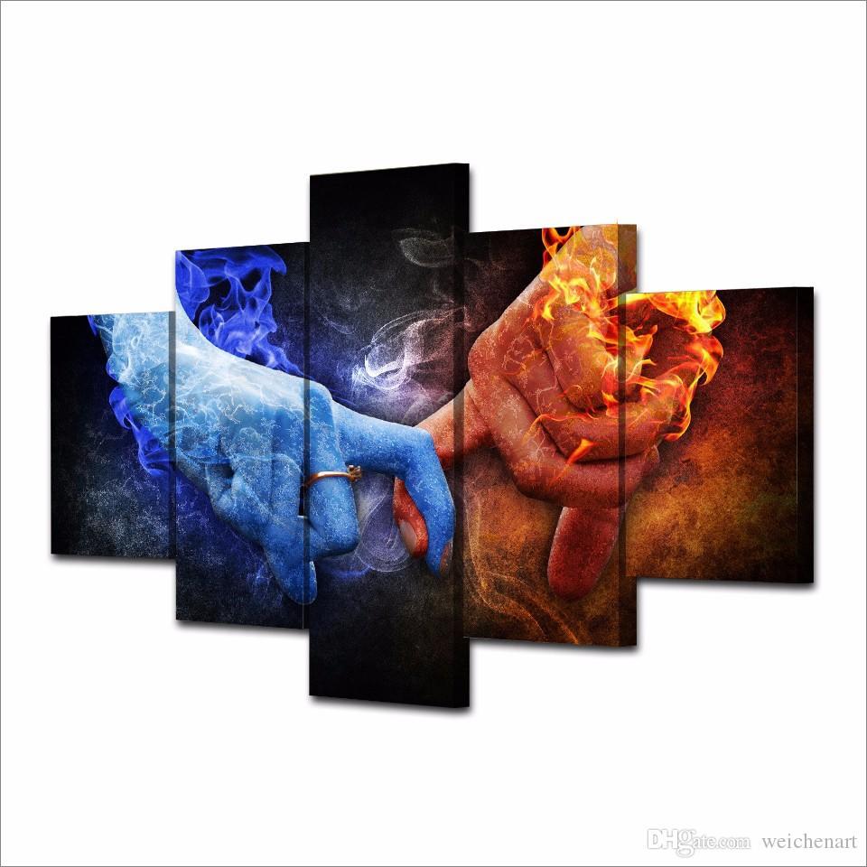 5 Панель HD Печатный Любовь Рука Пламя Картина Холст печати Декор для печати плаката Картина холст стены искусства живописи