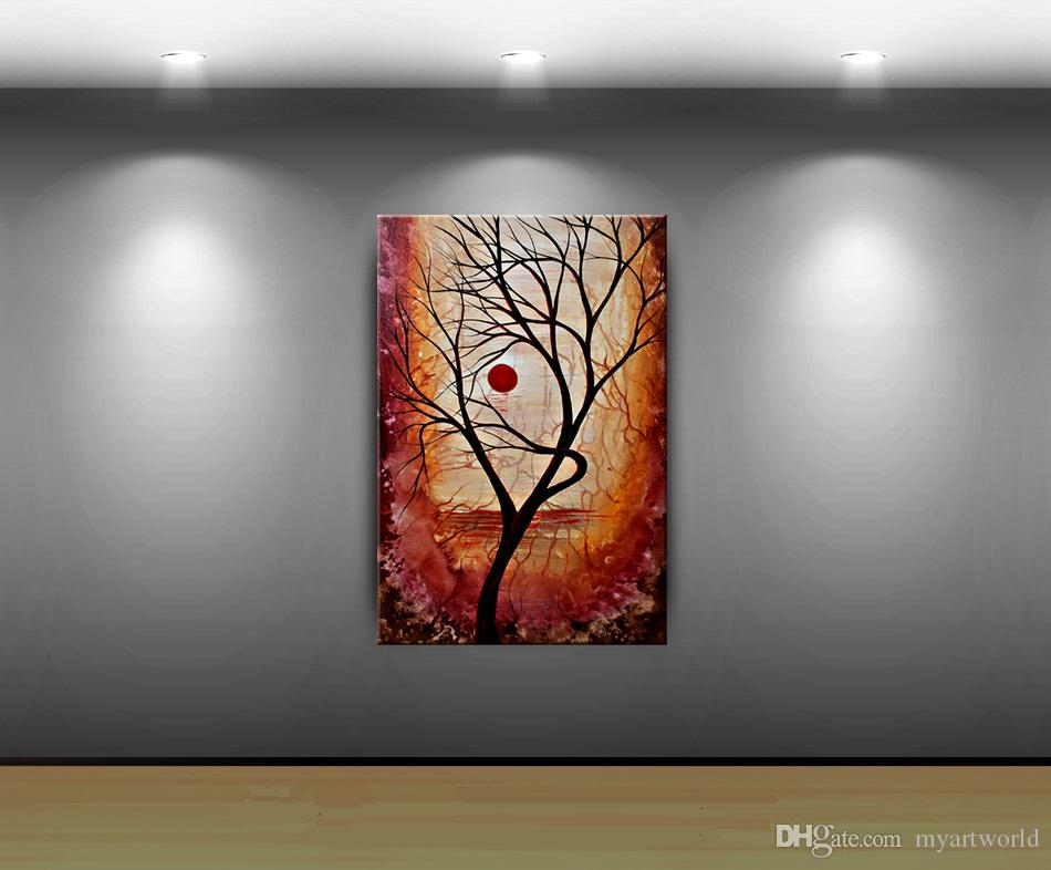 "Framed A ""Beautiful Life"" TREE WALL ART Autumn Fall Art,Handpainted LANDSCAPE ABSTRACT HOME DECOR Art Oil Painting Canvas Multi sizes Ab077"