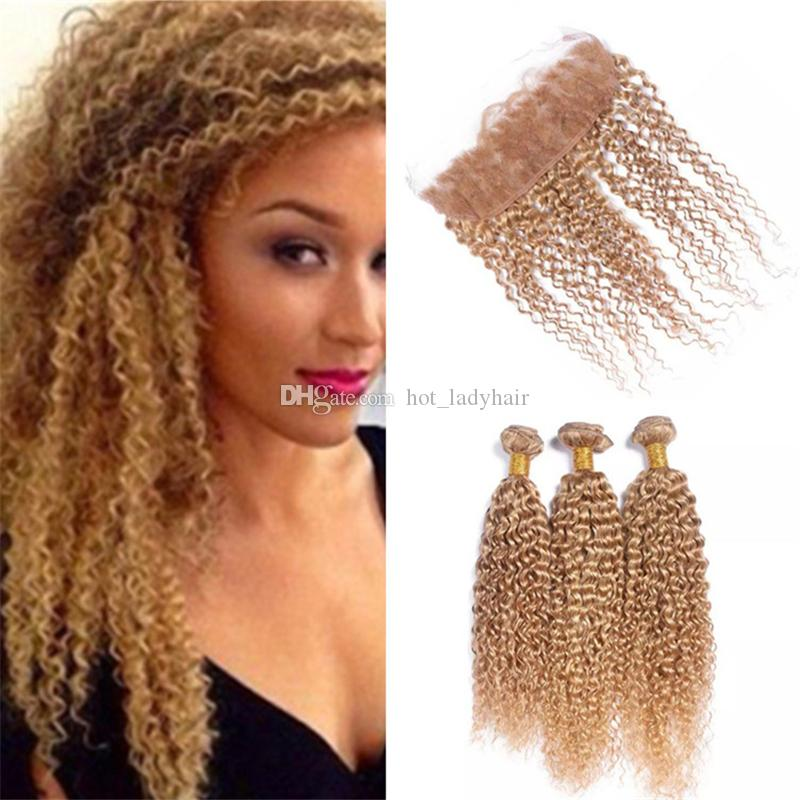 27 Honey Blonde Curly Hair Bundles With Lace Frontal Kinky Curly