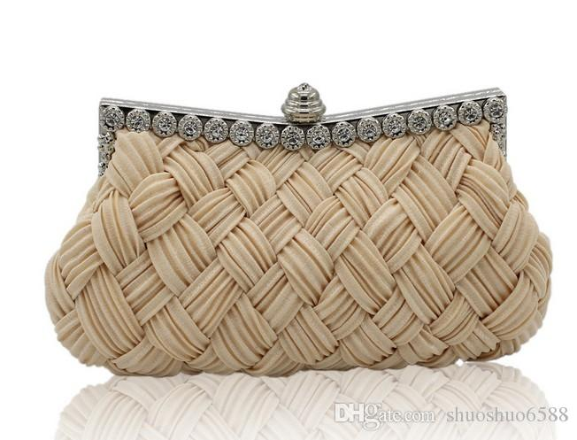 52ad9318315c Hot Sell New Style Bridal Hand Bags Weaving Satin Clutch Bag Makeup Bag  Wedding Evening Party Bag Shuoshuo6588 Bridal Clutch Bags Discount Leather  Handbags ...