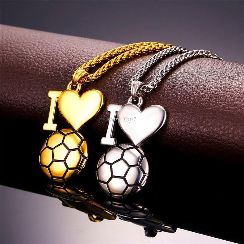 Wholesale fitness heart necklace for menwomen stainless steel wholesale fitness heart necklace for menwomen stainless steel gold color i love soccer pendants necklaces sport jewelry p911 snowflake pendant necklace mozeypictures Image collections