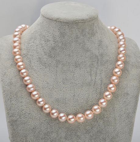 ef13078a359e Compre Venta Caliente Qili Perla 9 10mm Rosa Collar De Perlas Naturales 17  Pulgadas De Plata 925 Broche A  134.58 Del Chunhua63450