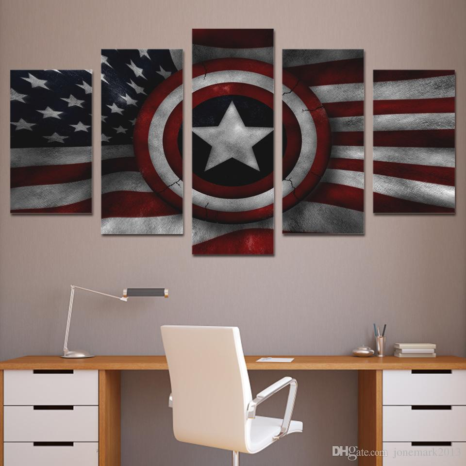 Framed HD Printed Captain Shield American Flag Wall Art Canvas Print Poster Canvas Pictures Abstract Oil Painting