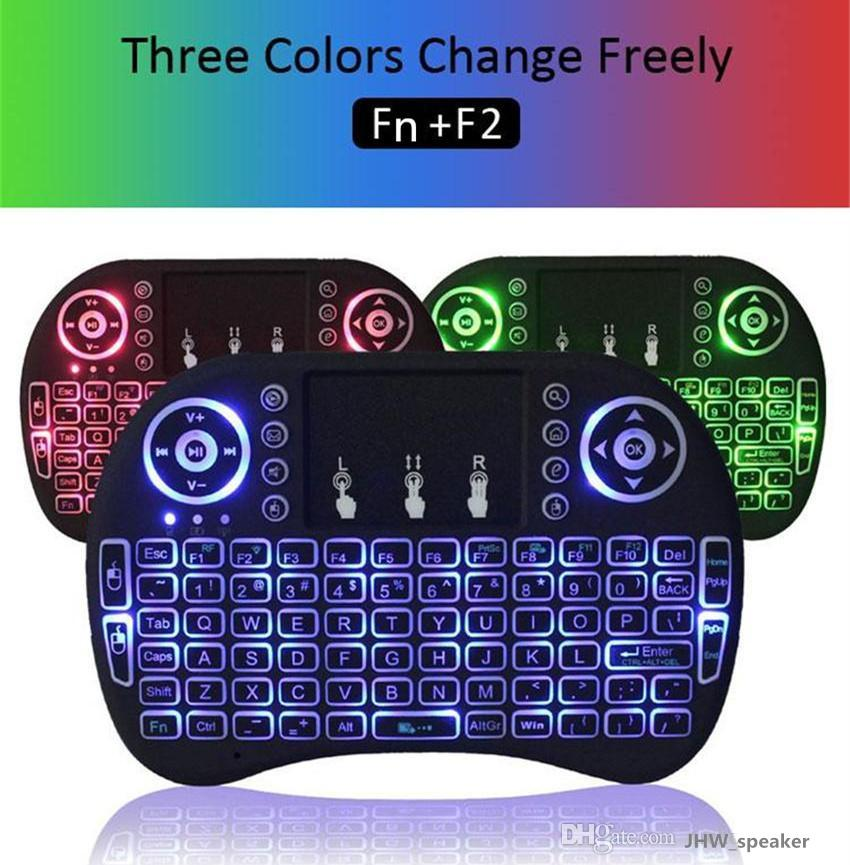Mini Rii i8 Backlight 2.4GHZ Wireless Media Keyboard LED Light Air Fly Mouse Remote Control Touchpad Handheld for TV BOX PC Laptop Tablet
