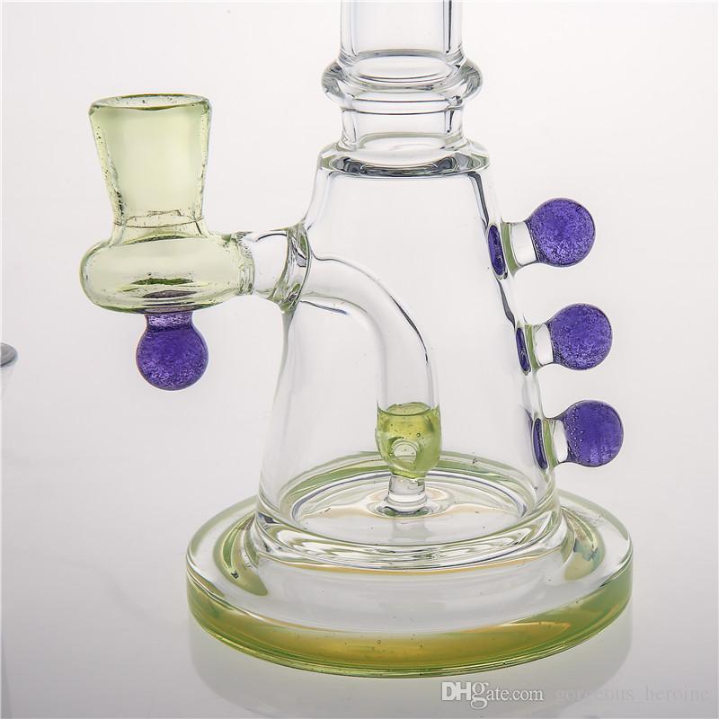 Новейшие стеклянные бонги Inline Perc Нефтяные вышки Бонги Водопроводные трубы Фиолетовый бисер Бонг Красочные стеклянные трубки Bubbler в наличии Быстрая доставка