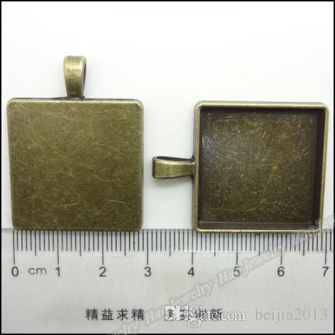 Freies Verschiffen 10 stücke Antike Bronze Cameo Rahmen Platz Einstellungen Anhänger 38x27mm Fit 25x25mm Schmuck Erkenntnisse Großhandel