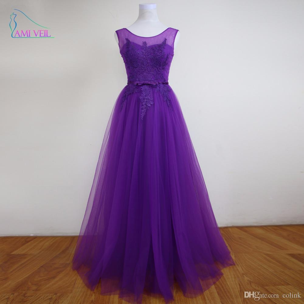 Long Purple Prom Dresses Burgundy Evening Gowns Lace Elegant Party ...