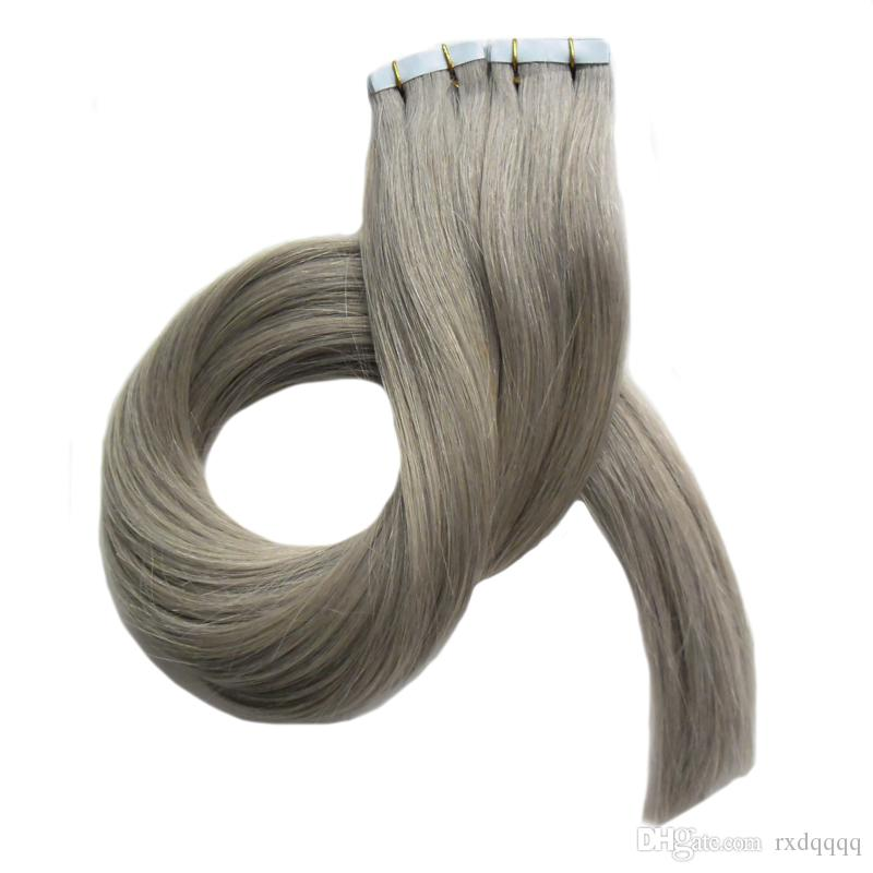 7a estensioni capelli nastro grigio 40 pezzi nastro di trama doppia faccia in pelle nelle estensioni dei capelli umani 100g dritto grigio argento estensione del nastro