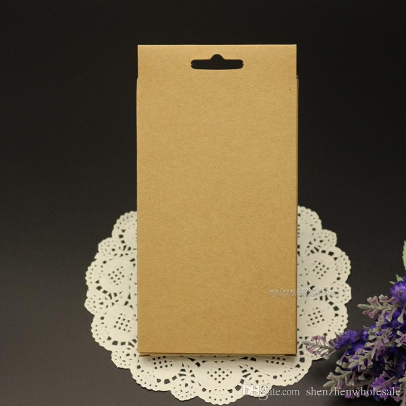 универсальный Plain Kraft Brown Paper розничный пакет коробки коробки для телефона крышка случая смартфон Сотовый телефон Samsung Galaxy S4 S5 S6 s7 край